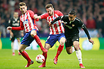Atletico de Madrid's Lucas Hernandez (l) and Saul Niguez (c) and Sevilla FC's Luis Muriel during Spanish Kings Cup, Quarter finals, first leg match. January 17,2018. (ALTERPHOTOS/Acero)