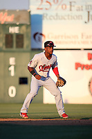 Fernery Ozuna (2) of the Visalia Rawhide in the field at second base during a game against the Lancaster JetHawks at The Hanger on August 9, 2017 in Lancaster, California. Lancaster defeated Visalia, 7-4. (Larry Goren/Four Seam Images)