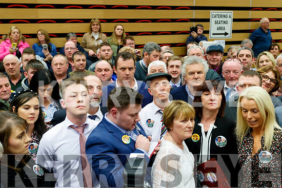 Michael Healy-Rae with supporters listening to the first count being announced at the count centre in Killarney on Sunday last.