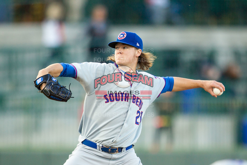South Bend Cubs pitcher Justin Steele (21) delivers a pitch to the plate against the Great Lakes Loons on May 18, 2016 at Dow Diamond in Midland, Michigan. Great Lakes defeated South Bend 5-4. (Andrew Woolley/Four Seam Images)