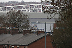 Ewood Park, home of Blackburn Rovers, seen from a nearby street on the day the club played host to Aston Villa in a Barclays Premier League match. Blackburn won the match by two goals to nil watched by a crowd of 21,848. It was Rovers' first match under the ownership of Indian company Venky's.