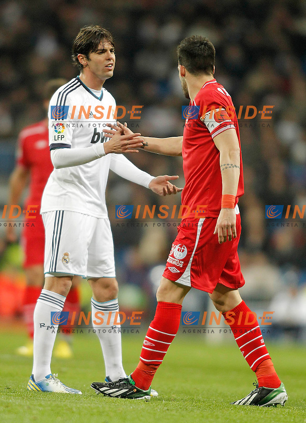 Real Madrid's Kaka talks to Sevilla's Alvaro Negredo during La Liga Match. February 09, 2013. (ALTERPHOTOS/Alvaro Hernandez) .Madrid 09/02/2013 Stadio Santiago Bernabeu.Football Calcio 2012/2013 La Liga Spagna.Real Madrid Vs Siviglia .Foto Alterphotos / Insidefoto .ITALY ONLY