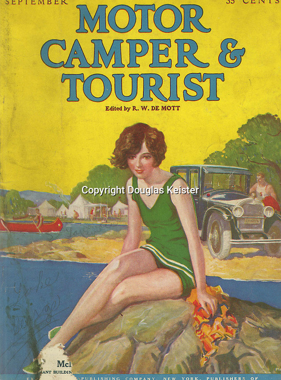 During the mid-1920s, auto and motor camping was popular enough to claim its own monthly magazine, Motor Camper and Tourist. The destination-oriented magazine also had articles on camp etiquette, the latest motor camping accessories, a question-and-answer section, jokes, and even a primer on the use of radios (the publisher also produced a radio magazine). Courtesy Stapleton Library, Indiana University of Pennsylvania.
