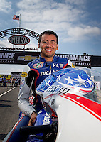 Sept. 1, 2013; Clermont, IN, USA: NHRA pro stock motorcycle rider Hector Arana Jr during qualifying for the US Nationals at Lucas Oil Raceway. Mandatory Credit: Mark J. Rebilas-