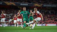 Ardin Dallku of Vorskla Poltava blocks Emile Smith-Rowe of Arsenal during the UEFA Europa League match group between Arsenal and Vorskla Poltava at the Emirates Stadium, London, England on 20 September 2018. Photo by Andrew Aleks / PRiME Media Images.