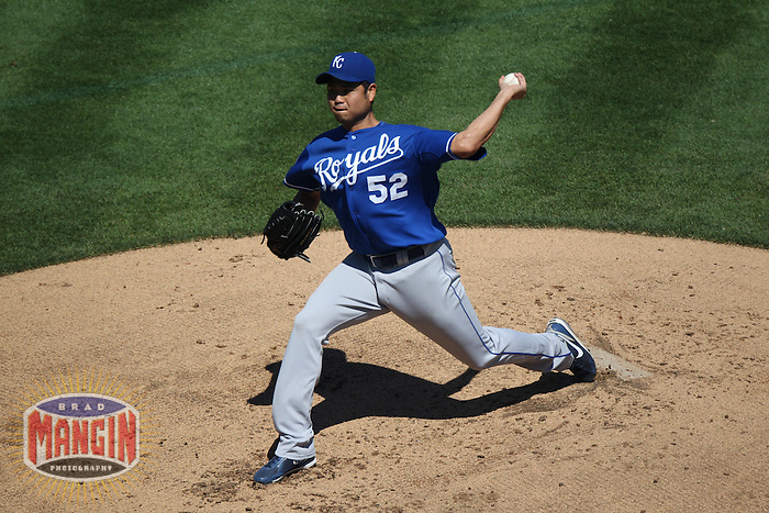 OAKLAND, CA - SEPTEMBER 7:  Bruce Chen #52 of the Kansas City Royals pitches against the Oakland Athletics during the game at O.co Coliseum on September 7, 2011 in Oakland, California. Photo by Brad Mangin