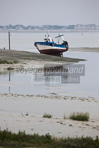 Europe/France/Picardie/80/Somme/Baie de Somme/Le Hourdel: Bateau de pêche à la Pointe du Hourdel