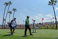 Patrick Reed (USA) and Hideki Matsuyama (JPN) head down 3 during round 1 of The Players Championship, TPC Sawgrass, at Ponte Vedra, Florida, USA. 5/10/2018.<br /> Picture: Golffile | Ken Murray<br /> <br /> <br /> All photo usage must carry mandatory copyright credit (&copy; Golffile | Ken Murray)