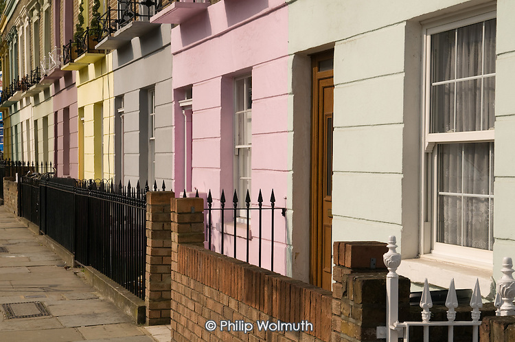 Brightly painted Victorian terrace houses in Hartland Road, Camden Town