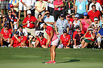 DES MOINES, IA - AUGUST 18: USA's Danielle Kang sinks a key putt to half the 15th hole during their match at the 2017 Solheim Cup in Des Moines, IA. (Photo by Dave Eggen/Inertia)