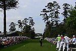 AUGUSTA, GA - APRIL 11: Tiger Woods tees off during the First Round of the 2013 Masters Golf Tournament at Augusta National Golf Club on April 10in Augusta, Georgia. (Photo by Donald Miralle) *** Local Caption ***
