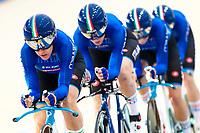 Picture by Alex Whitehead/SWpix.com - 09/12/2017 - Cycling - UCI Track Cycling World Cup Santiago - Velódromo de Peñalolén, Santiago, Chile - Italy's Marta Cavalli, Simona Frapporti, Francesca Pattaro and Silvia Valsecchi win Silver in the Women's Team Pursuit final.