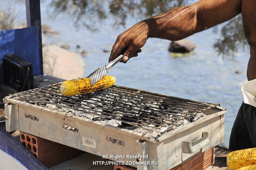 Street food in Santorini - grilled corn