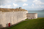 Perimeter defensive walls to Nothe Fort built in 1872 Weymouth, Dorset, England