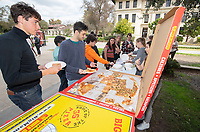 Welcome to Pie Week. Join us in the Academic Quad on March 4, 2019 and learn what your tuition really supports.  Demonstrate your new knowledge of the Oxy Fund and get a free piece of pizza or pie. Join us for PIE WEEK, the time of the year when tuition runs out and alumni and parent giving kicks in. Over 70% of Oxy students are on some form of financial aid, much of which comes from alumni and parent support. Sponsored By: Student-IA Committee<br /> (Photo by Marc Campos, Occidental College Photographer)