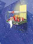 Illustration of tired Santa Claus fallen in balcony during Christmas