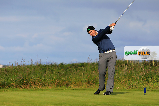 Colm Campbell (Warrenpoint) on the 4th tee during Round 1 Matchplay of the North of Ireland Amateur Open Championship at Royal Portrush, Dunluce Course on Wednesday 15th July 2015.<br /> Picture:  Golffile | Thos Caffrey