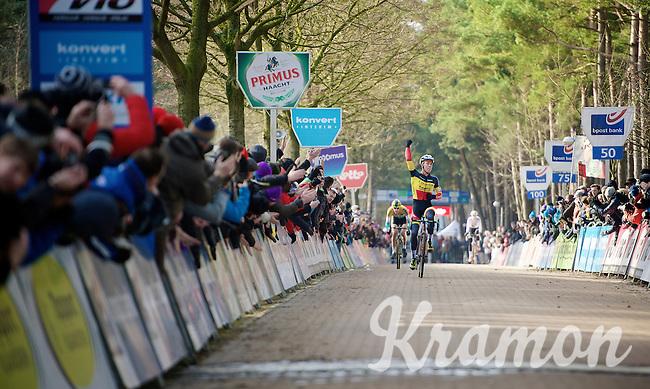 race winner Laurens Sweeck (BEL/Corendon-Kwadro) on his way to crossing the finish line victoriously<br /> <br /> U23 race<br /> Krawatencross <br /> bpost bank trofee 2015