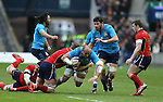 Sergio Parisse of Italy tackled buy Jonny Gray of Scotland - RBS 6Nations 2015 - Scotland  vs Italy - BT Murrayfield Stadium - Edinburgh - Scotland - 28th February 2015 - Picture Simon Bellis/Sportimage
