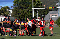 Action from the Wellington Hardham Cup rugby match between Paremata Plimmerton and Poneke at Ngatitoa Domain in Wellington, New Zealand on Saturday, 5 August 2017. Photo: Dave Lintott / lintottphoto.co.nz