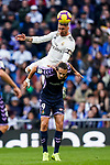 Sergio Ramos of Real Madrid battles for the ball with Enes Unal of Real Valladolid during the La Liga 2018-19 match between Real Madrid and Real Valladolid at Estadio Santiago Bernabeu on November 03 2018 in Madrid, Spain. Photo by Diego Souto / Power Sport Images