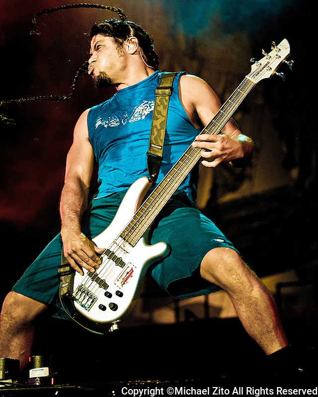 Robert Trujillo and Metallica performs at the Los Angeles Memorial Coliseum during the 2003 Summer Sanitarium Tour