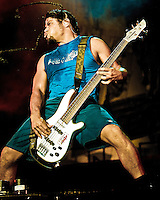 Robert Trujillo and Metallica performs at the Los Angeles Memorial Coliseum during the 2003 Summer Sanitarium Tour