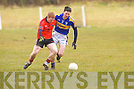 Gleneigh/Glencar's Pa Killkenny and Cordal's Phil Griffin in action in the dvision 3 game at Cordal on Sunday.