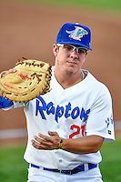 Nick Yarnall (21) of the Ogden Raptors on defense against the Billings Mustangs in Pioneer League action at Lindquist Field on August 12, 2016 in Ogden, Utah. Billings defeated Ogden 7-6. (Stephen Smith/Four Seam Images)