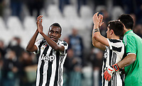 Calcio, Serie A: Juventus - Atalanta, Torino, Allianz Stadium, 14 marzo 2018. <br /> Juventus' Blaise Matuidi (l), Paulo Dybala (c) and Captain Gianluigi Buffon (r) celebrate after winner 2-0 the Italian Serie A football match between Juventus and Atalanta at Torino's Allianz stadium, March 14, 2018.<br /> UPDATE IMAGES PRESS/Isabella Bonotto