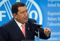 Il presidente del Venezuela Hugo Chavez alla cerimonia per il 60esimo anniversario della Fao a Roma, 17 ottobre 2005..Venezuela's president Hugo Chavez at the ceremony for United Nations Food and Agricultural Organization (FAO) 60th anniversary in Rome, 17th october 2005..UPDATE IMAGES PRESS/Riccardo De Luca