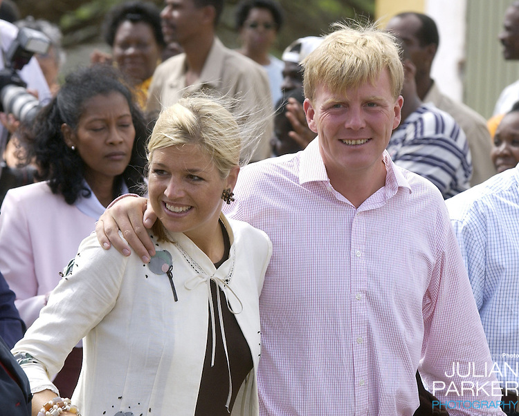 """Crown Prince Willem Alexander, and Crown Princess Maxima of Holland visit The Dutch Antilles..Visit the Island of Curacao..The Royal Couples program included,  a Cultural evening of Dance & Carnival in Brion Square, visit The Island Council, """" Sta Martha, a labour project for the physically & Mentally Handicapped, """" Fort Amsterdam """", The Marine Base, and a youth development project."""