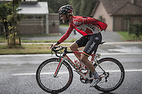 Tosh Van der Sande (BEL/Lotto-Soudal)<br />  constantly getting in/out of his rain-jacket<br /> <br /> Tour de l'Eurom&eacute;tropole 2016 (1.1)<br /> Poperinge &rsaquo; Tournai (196km)/ Belgium