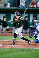 Tate Blackman (4) of the Great Falls Voyagers bats against the Ogden Raptors at Lindquist Field on September 14, 2017 in Ogden, Utah. The Raptors defeated the Voyagers 7-4 in Game One of the Pioneer League Championship. (Stephen Smith/Four Seam Images)