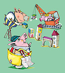 Illustrative image of pigs constructing building representing play school