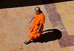 Buddhist monk in orange robe