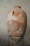 Storage vessel from Tel Dan, 12th century BC, at the Skirball Museum of Biblical Archaeology in Jerusalem