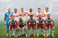 New York Red Bulls starting eleven. The New York Red Bulls and D. C. United played to a 0-0 tie during a Major League Soccer (MLS) match at Red Bull Arena in Harrison, NJ, on March 16, 2013.