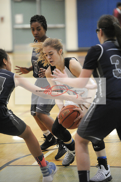 Chugiak's Eva Palmer works while surrounded by a trio of Wolves.  Photo for the Star by Michael Dinneen.