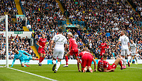Leeds United's Patrick Bamford hits the post with a shot<br /> <br /> Photographer Alex Dodd/CameraSport<br /> <br /> The EFL Sky Bet Championship - Leeds United v Nottingham Forest - Saturday 10th August 2019 - Elland Road - Leeds<br /> <br /> World Copyright © 2019 CameraSport. All rights reserved. 43 Linden Ave. Countesthorpe. Leicester. England. LE8 5PG - Tel: +44 (0) 116 277 4147 - admin@camerasport.com - www.camerasport.com