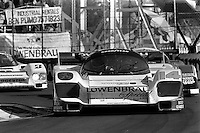 MIAMI, FL - MARCH 2: The Holbert Racing Porsche 962 HR1 is driven by Al Holbert and Derek Bell during the Lowenbrau Grand Prix of Miami IMSA GTP race on the temporary street circuit in Bicentennial Park in Miami, Florida, on March 2, 1986.