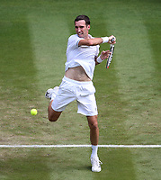 Mikhail Kukushkin (KAZ) during his match against  Rafael Nadal (ESP)<br /> <br /> Photographer Rob Newell/CameraSport<br /> <br /> Wimbledon Lawn Tennis Championships - Day 4 - Thursday 5th July 2018 -  All England Lawn Tennis and Croquet Club - Wimbledon - London - England<br /> <br /> World Copyright &not;&copy; 2017 CameraSport. All rights reserved. 43 Linden Ave. Countesthorpe. Leicester. England. LE8 5PG - Tel: +44 (0) 116 277 4147 - admin@camerasport.com - www.camerasport.com