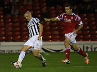 Jim Goodwin gets the ball before Gavin Rae in the Aberdeen v St Mirren Scottish Communities League Cup match played at Pittodrie Stadium, Aberdeen on 30.10.12.