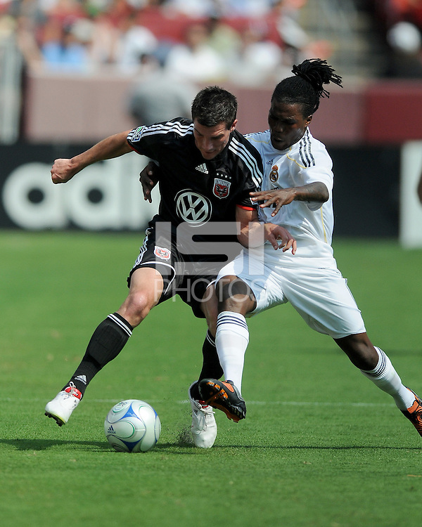 DC United midfielder Chris Pontius (13) versus Real Madrid defender Royston Drenthe (15). Real Madrid defeated DC United 3-0 at FedEx Field, Sunday August 9, 2009 in an International Friendly.