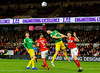 Preston North End's Jordan Storey beats Middlesbrough's Daniel Ayala in the air<br /> <br /> Photographer Alex Dodd/CameraSport<br /> <br /> The EFL Sky Bet Championship - Middlesbrough v Preston North End - Wednesday 13th March 2019 - Riverside Stadium - Middlesbrough<br /> <br /> World Copyright &copy; 2019 CameraSport. All rights reserved. 43 Linden Ave. Countesthorpe. Leicester. England. LE8 5PG - Tel: +44 (0) 116 277 4147 - admin@camerasport.com - www.camerasport.com