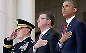 From left to right: Chairman of the Joint Chiefs of Staff Martin Dempsey, United States Secretary of Defense Ash Carter and U.S. President Barack Obama attend a Memorial Day event at Arlington National Cemetery, May 25, 2015 in Arlington, Virginia. <br /> Credit: Olivier Douliery / Pool via CNP