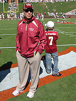 Oct 2, 2010; Charlottesville, VA, USA; Florida State head coach Jimbo Fisher stands with his son Trey before the game against the Virginia Cavaliers at Scott Stadium. Florida State won 34-14.  Mandatory Credit: Andrew Shurtleff-US PRESSWIRE