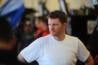 Apr 24, 2009; Talladega, AL, USA; NASCAR Sprint Cup Series driver Dale Earnhardt Jr during practice for the Aarons 499 at Talladega Superspeedway. Mandatory Credit: Mark J. Rebilas-