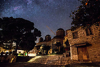 Mount Athos - The Holy Mountain.<br /> Xenophontos monastery under the stars. <br /> <br /> Photographer: Rick Findler