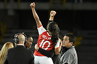 BOGOTÁ -COLOMBIA, 24-06-2017: Leicy Santos jugadora de Santa Fe como campeona de la Liga Femenina Aguila 2017 después del partido de vuelta entre Independiente Santa Fe y Atletico Huila por la final de la Liga Femenina Aguila 2017 jugado en el estadio Nemesio Camacho El Campin de la ciudad de Bogota. / Leicy Santos player of Santa Fe celebrates as champions of the Aguila Women League 2017 after second leg match between Independiente Santa Fe and Atletico Huila for the final of Aguila Women League 2017 played at the Nemesio Camacho El Campin Stadium in Bogota city. Photo: VizzorImage/ Gabriel Aponte / Staff